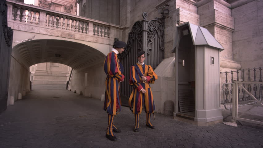 ROME, ITALY- MAY 8, 2012: Swiss Guards stand at their post.