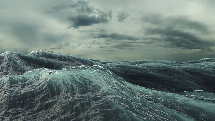 Rough Sea Loop 3D A loop of big waves in an agitated ocean. Camera goes underwater several times, 4k