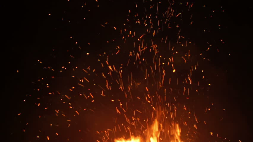 looping fire with sparks in slow motion