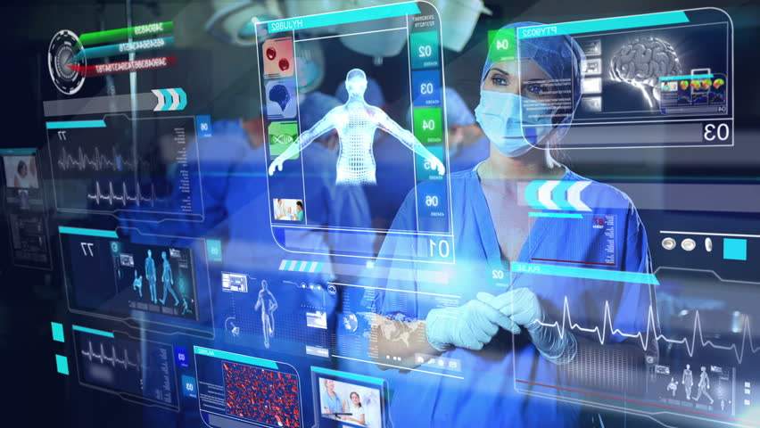 3D montage of female Caucasian doctor using futuristic CG touch screen digital anatomy display before operation