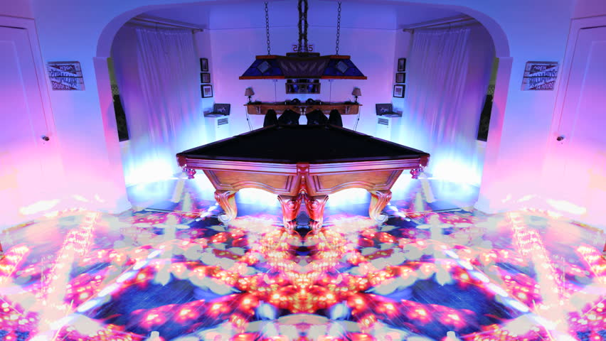 Psychedelic Laser Light Show Around Billiards Table Arcade Room Perfect For Trippy DJ Hallucinogenic Party