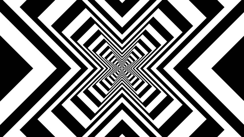 Hypnotic rhythmic movement of geometric black and white for Black and white shapes