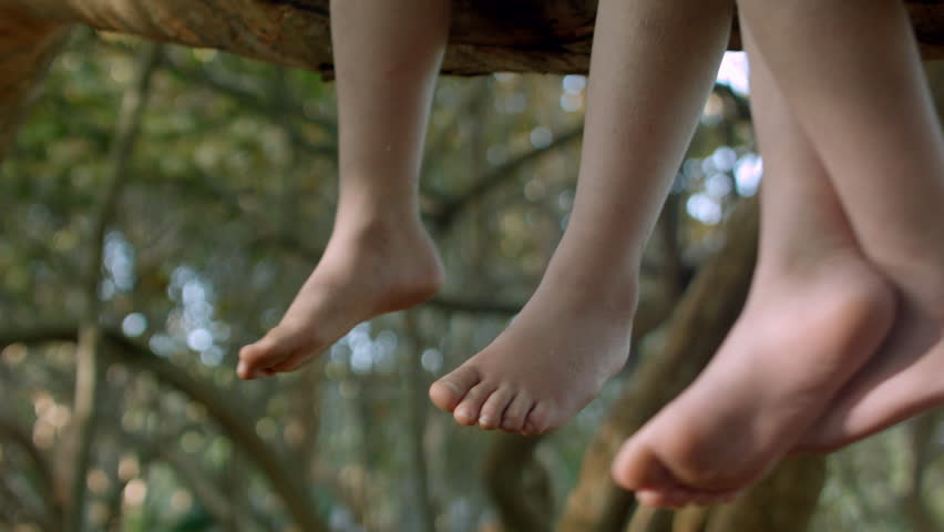 Two Kids Sit In A Tree, Closeup Of Their Feet Swinging In The Breeze