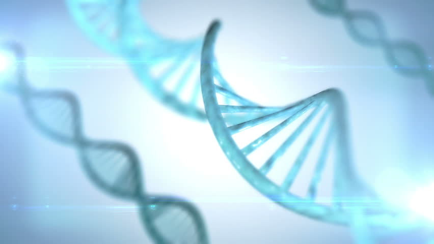 Rotating DNA with formula background, dark blue tint.