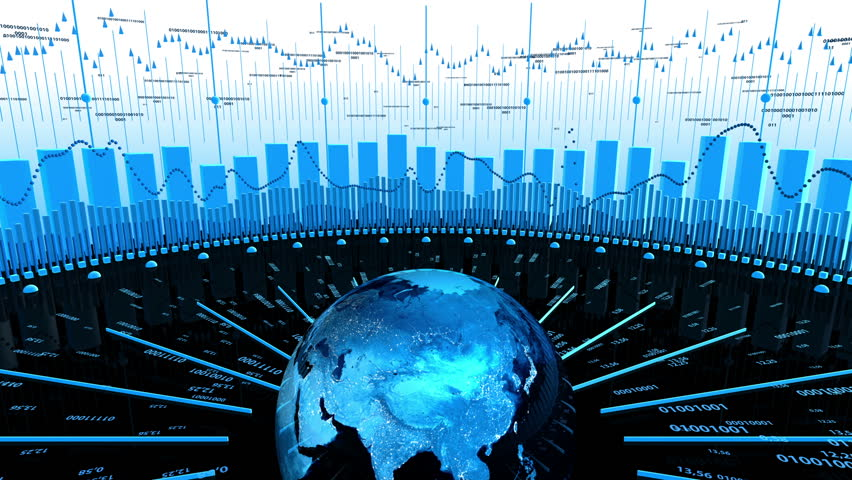 World Stock Market Business Data - Charts in motion showing data computing. Spinning Earth in the middle. 3D animation. Great for all stock, economy or data computing concepts. | Shutterstock HD Video #6124130