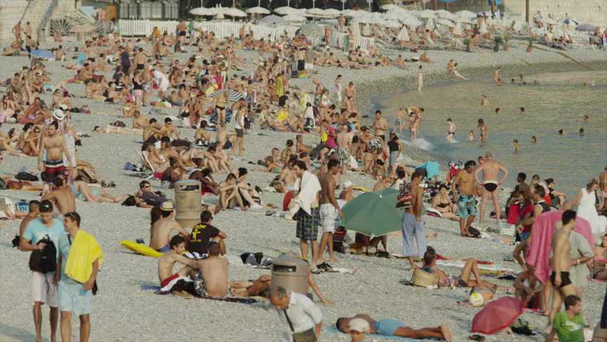 NICE, FRANCE - January, 2013 - Medium Shot Of People ...