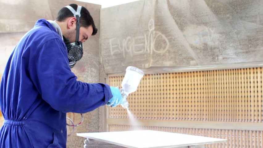 Painter In A Factory - Industrial Painting With Spray Gun - Dolly ...