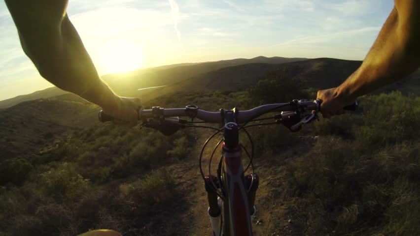 POV Extreme Mountain Biking On Dirt Trail