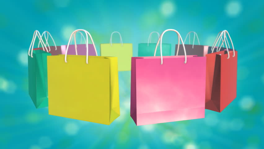 Red Shopping Bag Sale On Twinkle Background Stock Footage Video ...