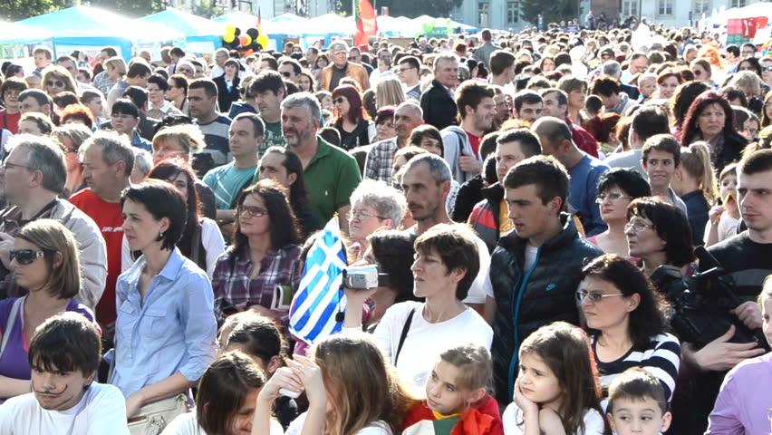 Zrenjanin,Serbia - May 15 2014 :people crowd in ethno festival on May 15 2014 in Zrenjanin, Serbia. #6367841