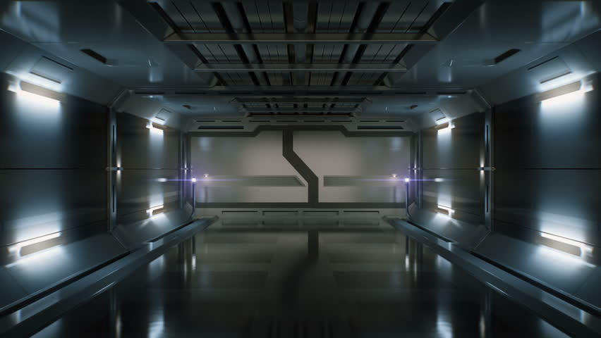 3D Computer generated ride in a spaceship tunnel. Opening gates. Alpha channel included.