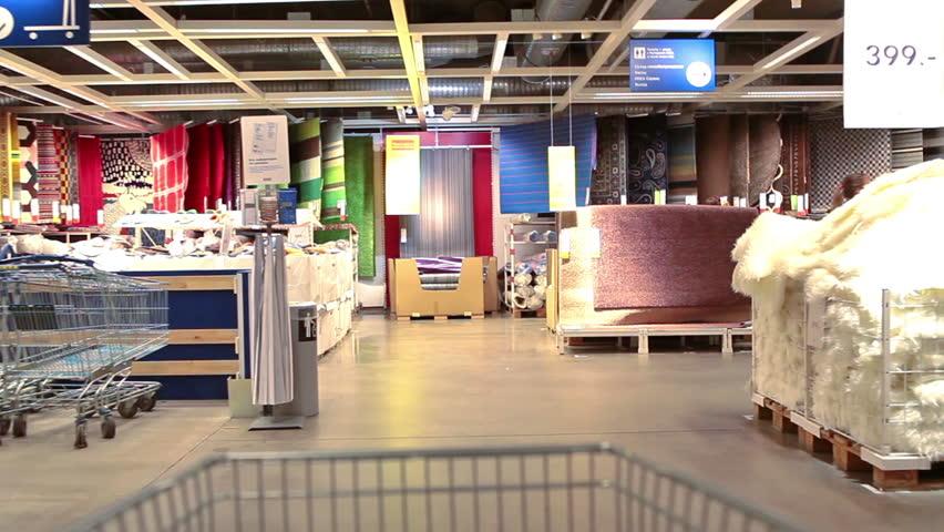 SAINT PETERSBURG, RUSSIA CIRCA MAY, 2014: Shop Cart Drives Through The