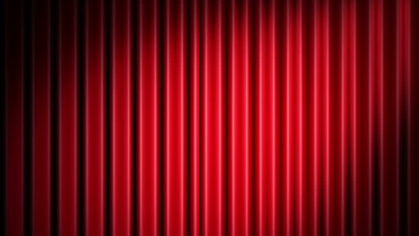 Red Curtain Opening With Spotlight. 3D Theater Curtain And Black ...