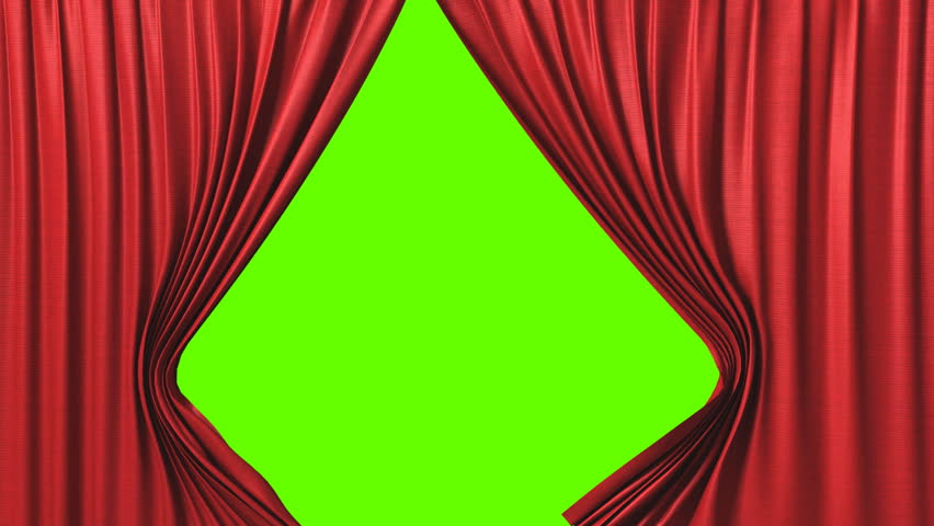 Opening red curtain, 3d animation