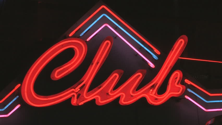 Club sign. Club sign with red, blue and purple neon. Toronto, Ontario, Canada. Shot with Canon XH-A1s.
