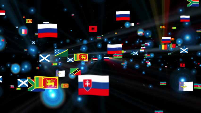 Flags of the World shine, camera fly through, black