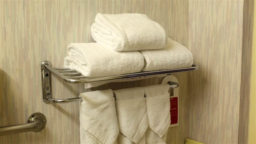 Merveilleux Towel Setup In The Bathroom Of A Budget Motel. Stock Footage Video 6610862    Shutterstock