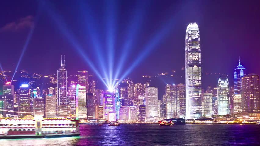 Panning timelapse video of Symphony of Light in Hong Kong | Shutterstock HD Video #6769243