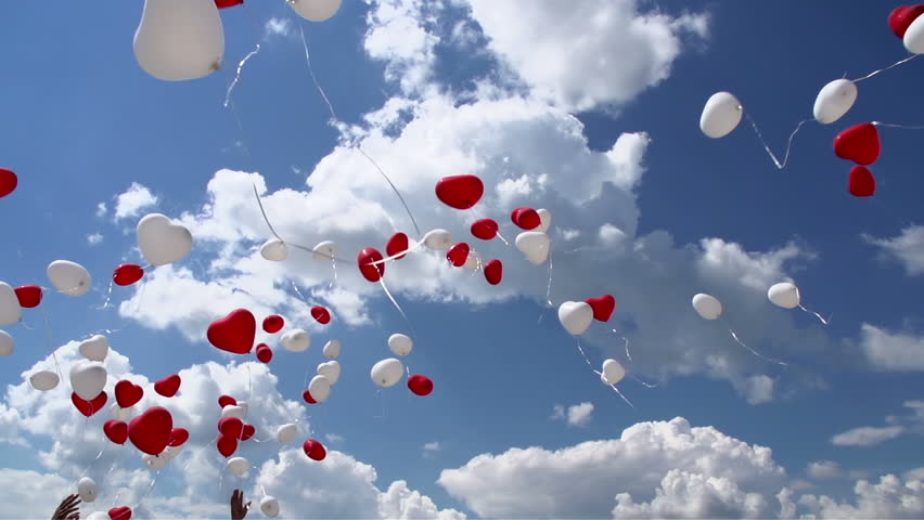 Many Beautiful Balloons In The Sky : Balloons in the Sky. Balloons in the form of red and white hearts soar ...