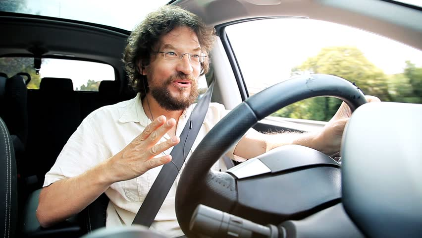 Man Driving Smelling Stinky Air Funny Comedy Stock Footage