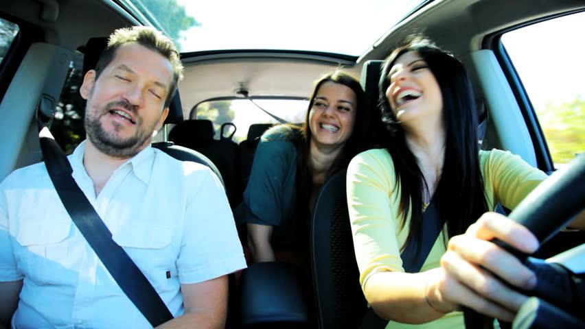 Four Happy Cool People Having Fun In Car Stock Footage
