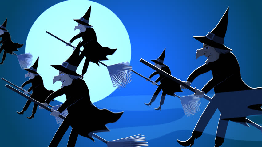 01638 halloween witches flying on a broomsticks against a full moon at night hd stock - Flying Halloween Witch