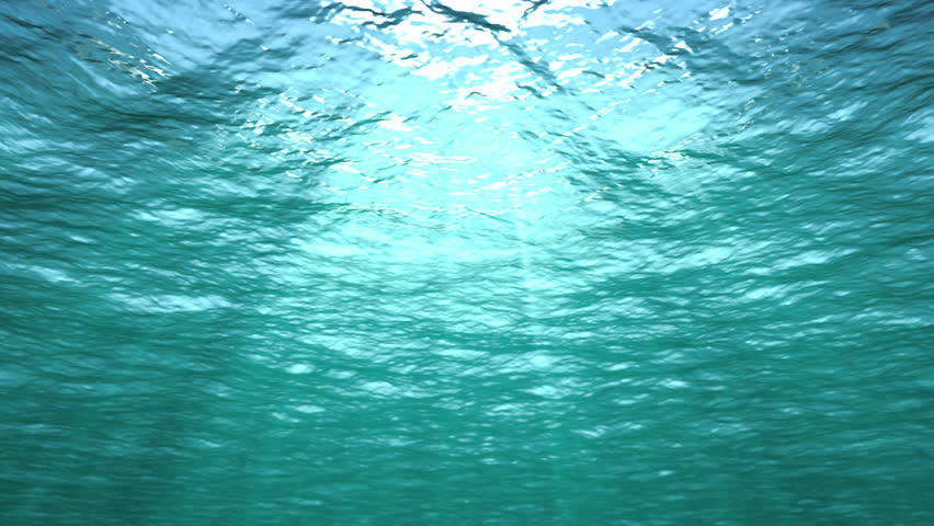 Starts underwater and rises above ocean surface. Two loops (first and last 9 seconds). See clip 6964780 for alternative version (starts above water and dives down under the sea).