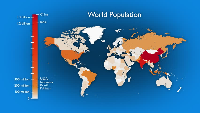 Animated map of world population by country. Two versions: One has a rising bar graph and text, the other has no legend or labels. In 4K ultra HD and smaller sizes.