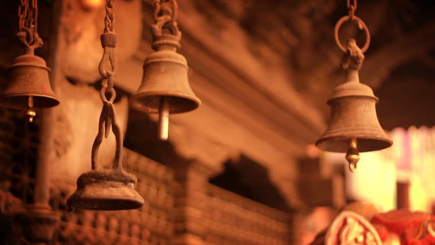 Ancient Bells on a temple in Kathmandu, Nepal. | Shutterstock HD Video #7044019