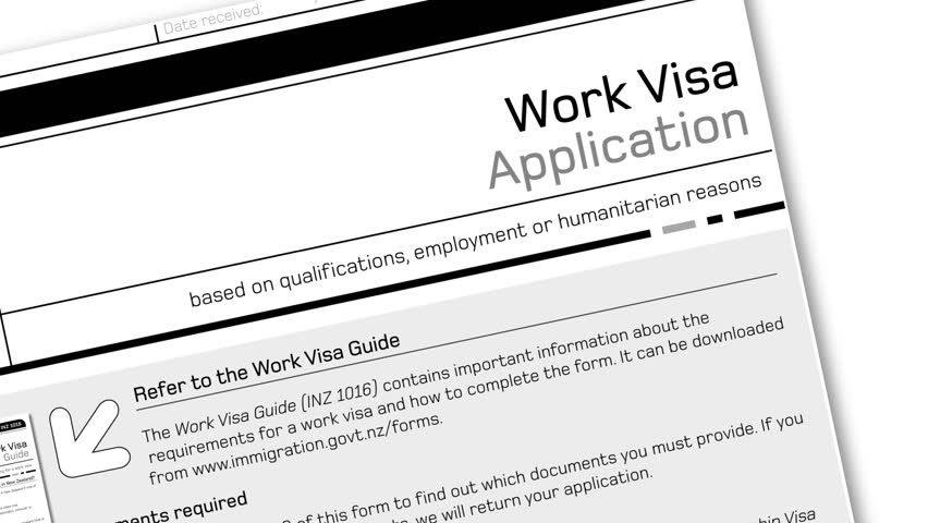 Animation Of Work Visa Application Document For Temporary Stay ...