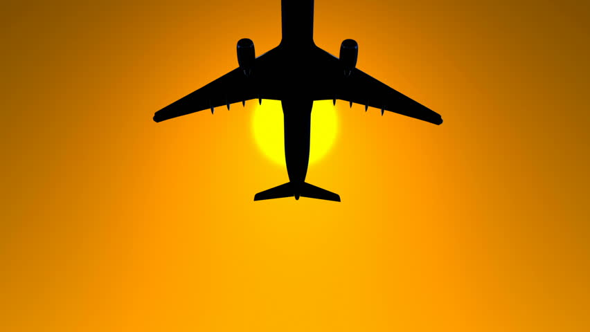 Airplane Silhouette Animation Background