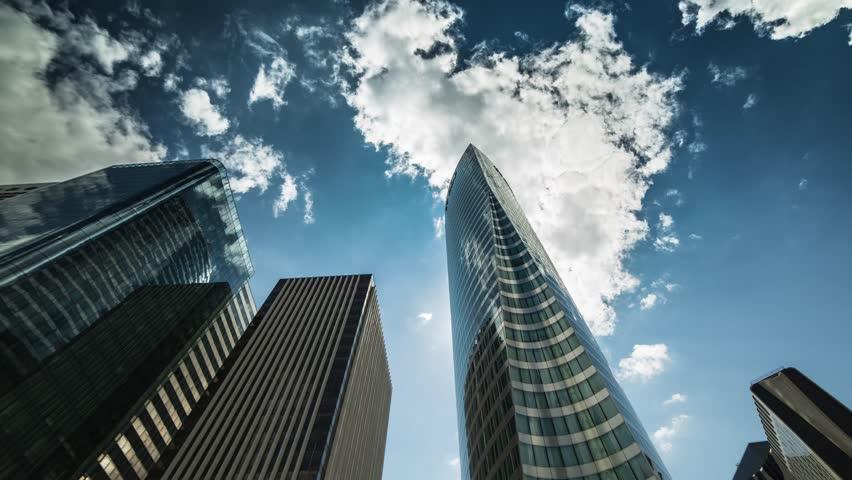 La défense, Paris, business économy, building, cloud, time-lapse