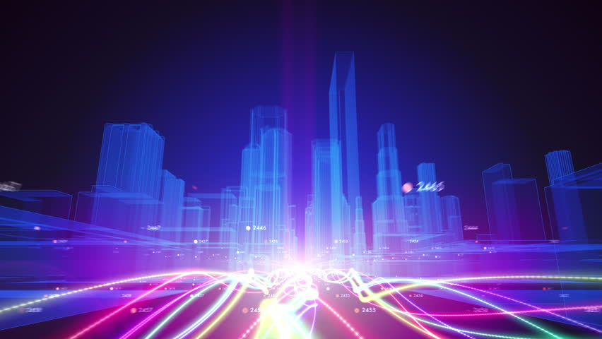 Abstract animation of fiber optic cables carrying information toward wireframe city buildings | Shutterstock HD Video #7298056