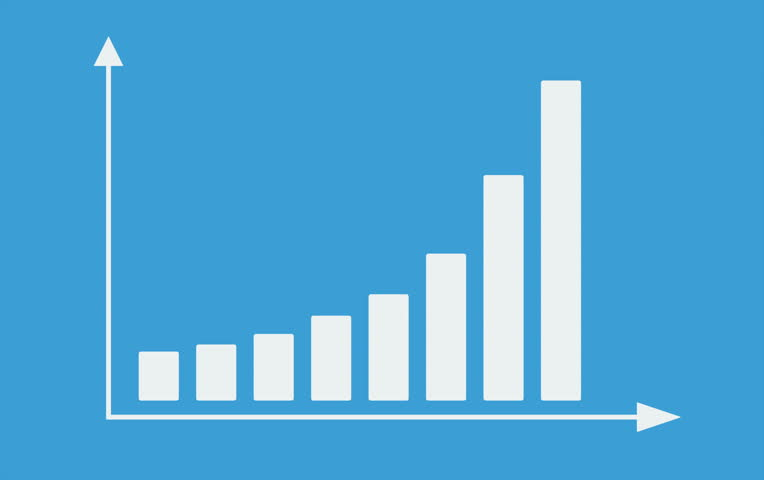 Bar graph with arrows axis. Grow chart business concept. Animation for yours presentation. 4K video clip. | Shutterstock HD Video #7320796