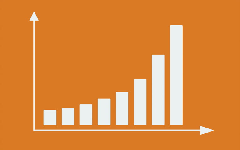 Bar graph with arrows axis. Grow chart business concept. Animation for yours presentation. 4K video clip.