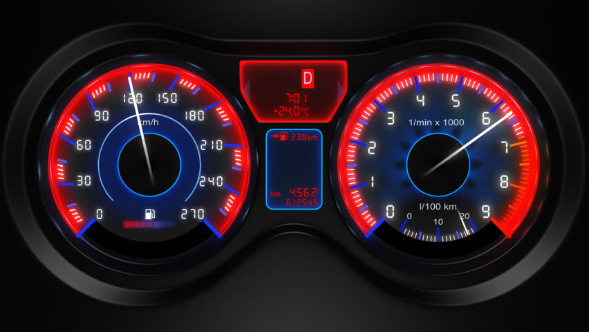 car dashboard, 3d animation, with sound