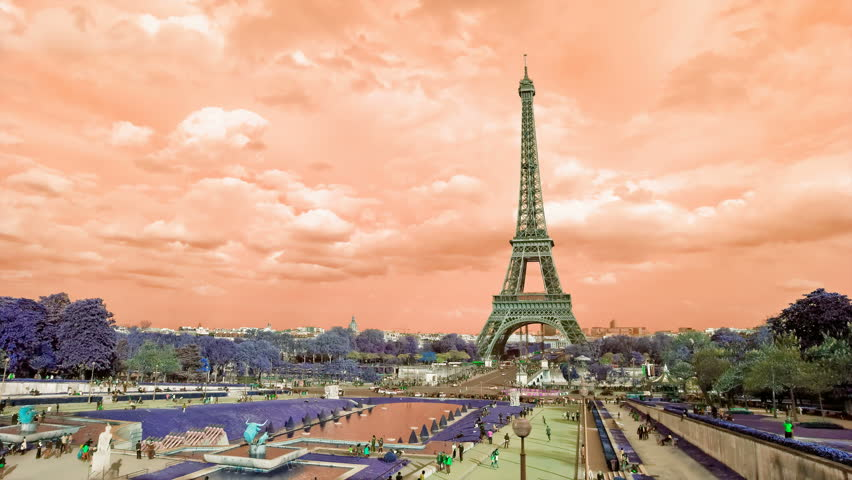 Grunge Eiffel Tower sunset. Etoile, one of the monuments of Paris France, including Arch of Triumph, Louvre, Montmartre, Montparnasse, Moulin Rouge, Versailles, Pompidou Center, Notre Dame. | Shutterstock HD Video #7362538