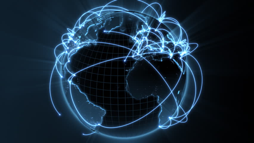 3d animation of a growing network across the world - blue version - see portfolio for new and improved 4K version