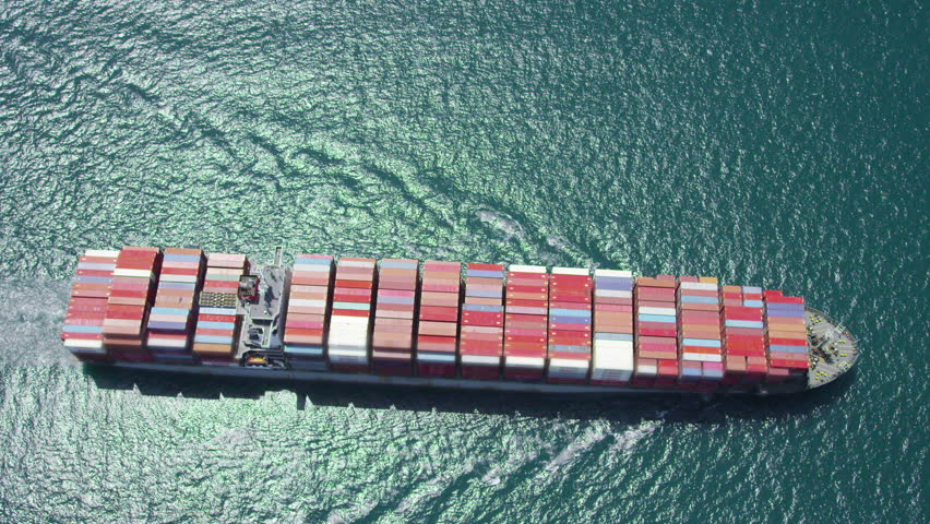 LOS ANGELES JULY 2014 - Aerial of container ship at sea near Los Angeles shipping Port. There are currently over 17 million shipping containers in the world. LOS ANGELES, USA 1 JULY 2014 EDITORIAL #7508218