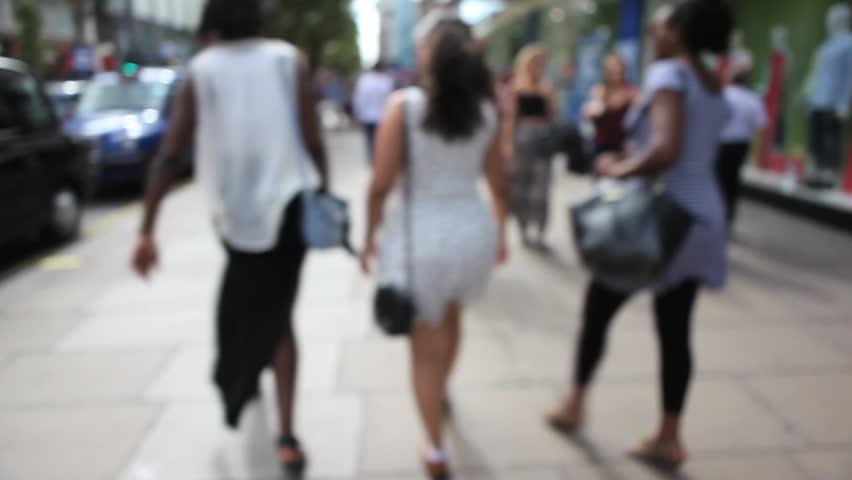 Girls walk on Oxford Street in London #7508707