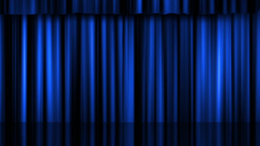 Blue Stage Curtain On Black Background. Loop Able 3D Render ...