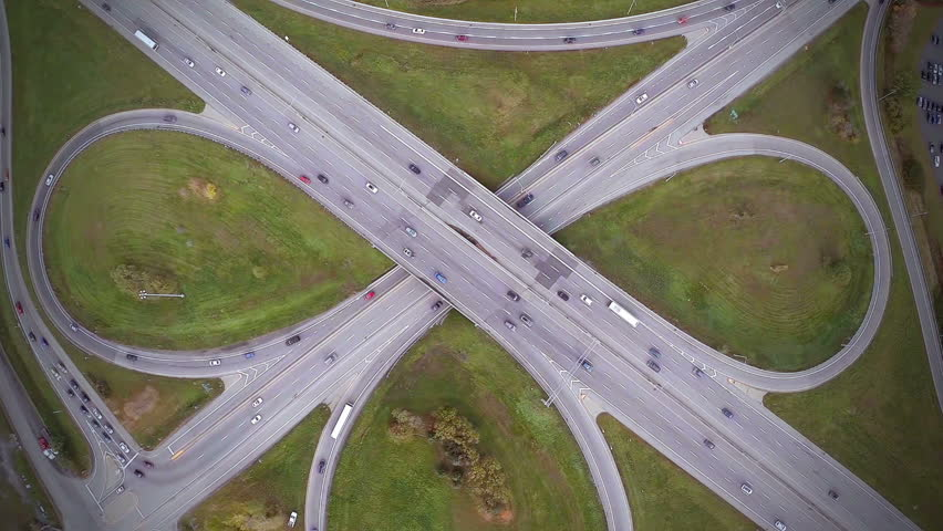 Non Moving Aerial Footage of Highway and Overpass...
