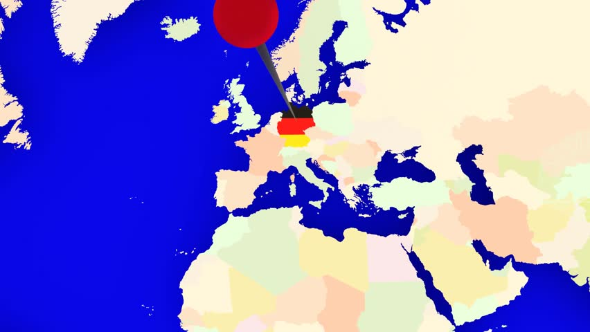 Southeast asia countries asean map and flags waving on green a pin marks the country germany on a world map the camera zooms in and gumiabroncs Gallery