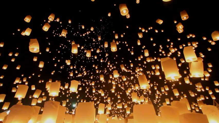 Floating lanterns in Yee Peng Festival, Loy Krathong celebration in Chiangmai, Thailand. Uprisen wide angle view. | Shutterstock HD Video #7726558