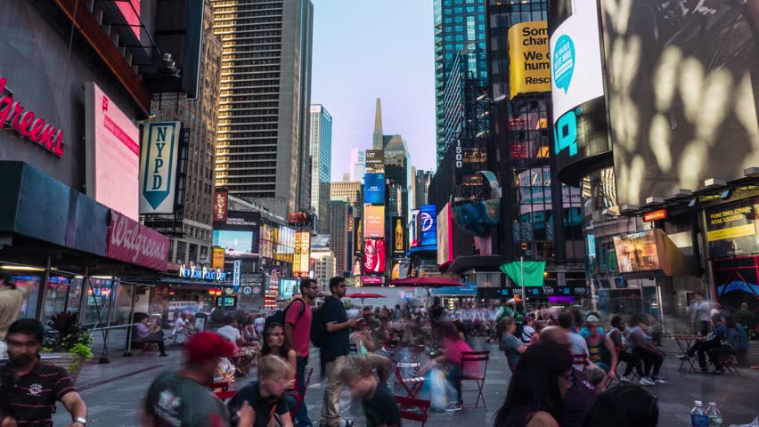 NEW YORK CITY, USA  - August 18, 2014: Crowd of tourists in Times Square. Time Lapse | Shutterstock HD Video #7788148