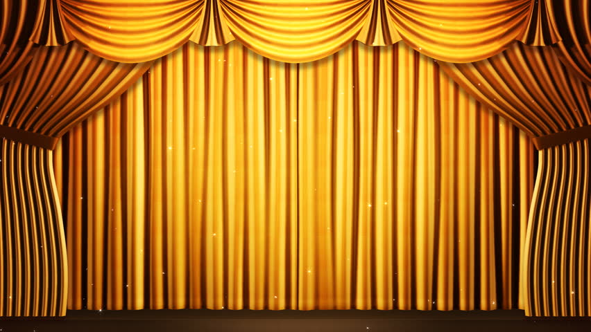 Curtains Ideas black theater curtains : Gold Stage Curtain On Black Background. Loop Able 3D Render ...