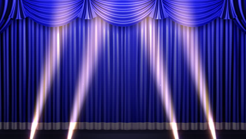 Curtains Ideas blue stage curtains : Blue Stage Curtain On Black Background. Loop Able 3D Render ...