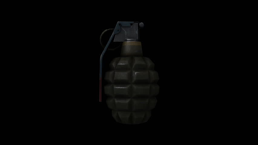 Hand grenade rotating with alpha channel, looped video