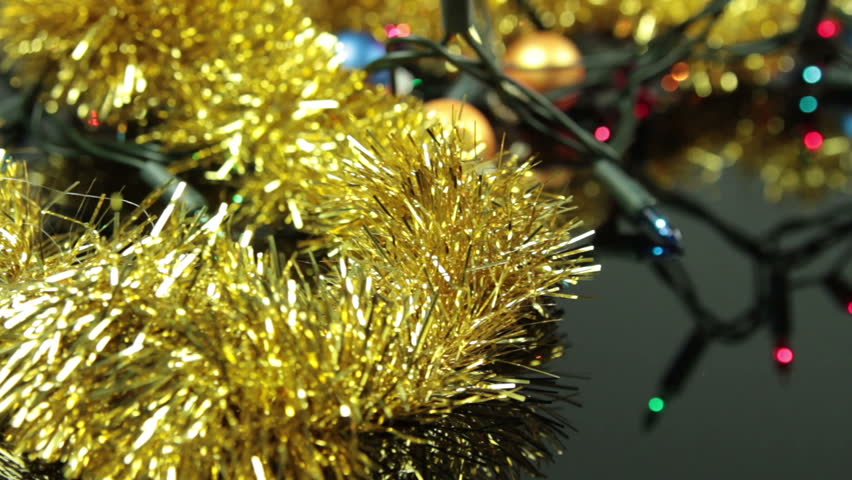 Slider Shot Of Christmas Lights And Other Decoration Laying On ...