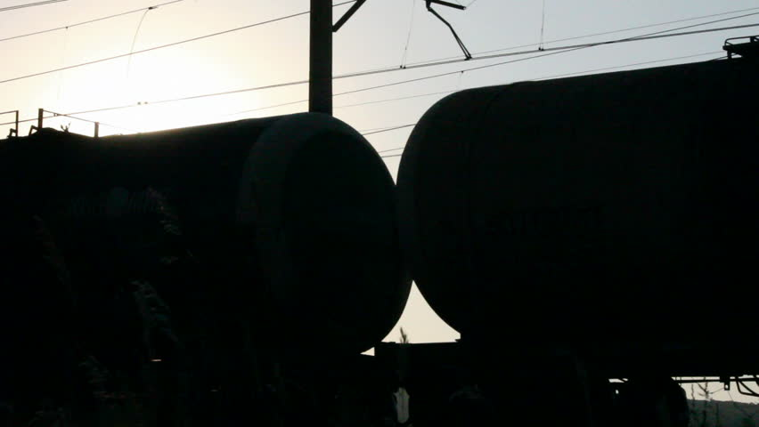 freight train against sunset - loopable